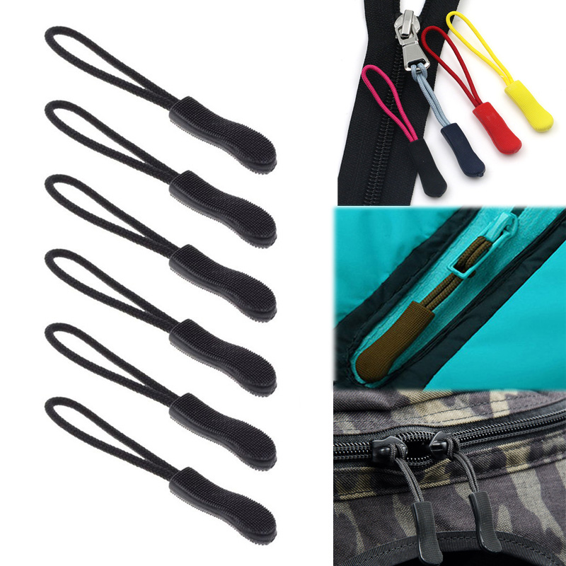 10 Pcs Zipper Drawstring Zip Cord Tag Replacement Clip Pendant Zipper Tail For Clothes Backpacks Traveling Case Handbag Tents
