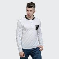 Mode PU Lederen Kraag T-shirt Mannen Hip Hop Mens T-shirts Casual Katoenen T-shirt Mannen Lange Mouwen Slim Tee Shirt Homme Pocket