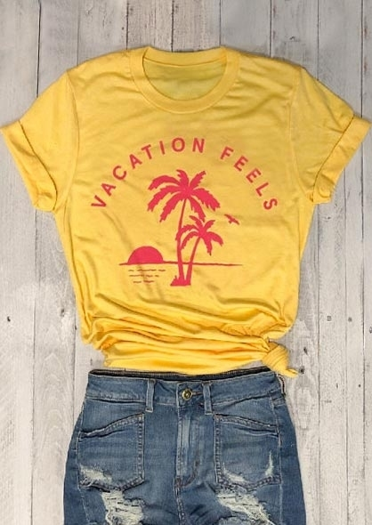fdde6cc8a49252 Women Fashion O-Neck Short Sleeve T-Shirt Vacation Feels Coconut Palm  Casual T Shirt Polyester Female Clothes Top Tee