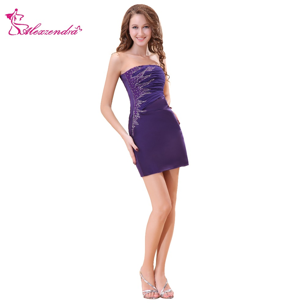 Alexzendra Purple Straight Mini Beaded   Prom     Dresses   Simple Party   Dresses   Plus Size
