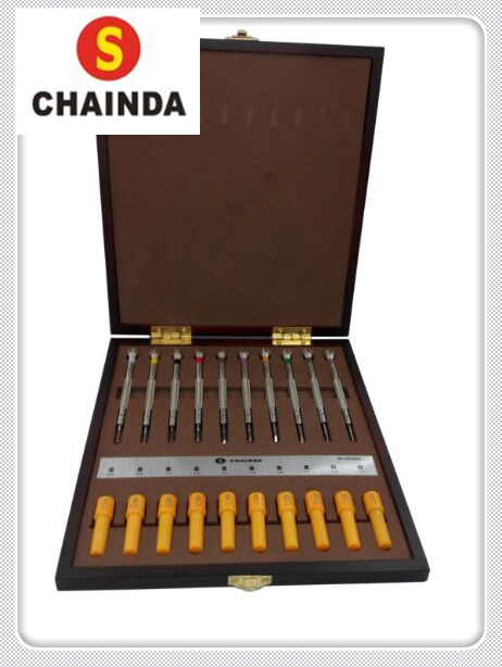 Free Shipping 1 Set Quality 10pcs Chainda Watch Screwdriver Set in Wooden Box for Watch Repairers and Watch Hobbyists цена 2017