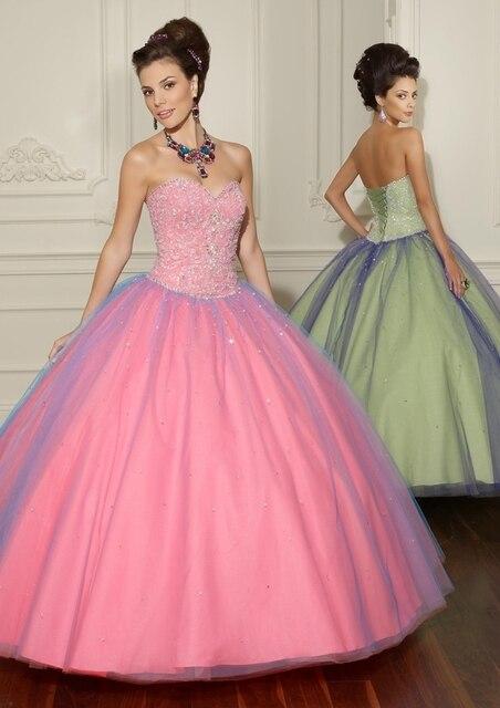 fd102b28e Verde da hortelã Vestidos Quinceanera Bola Vestidos Rosa Doce 16 Dresses  Vestido De 15 Vestido de