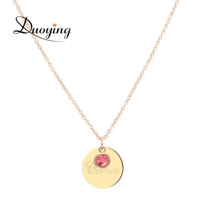 Duoying 18mm disc necklaces custom name initial laser engraved duoying 18mm disc necklaces custom name initial laser engraved necklaces birthstone pendants necklaces for etsy birthday aloadofball Images