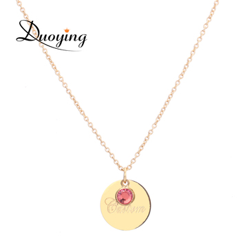DUOYING Disc Necklaces Pendants with Letter Customized Name Birthstone Layer Chain Custom Jewelry Xmas Day
