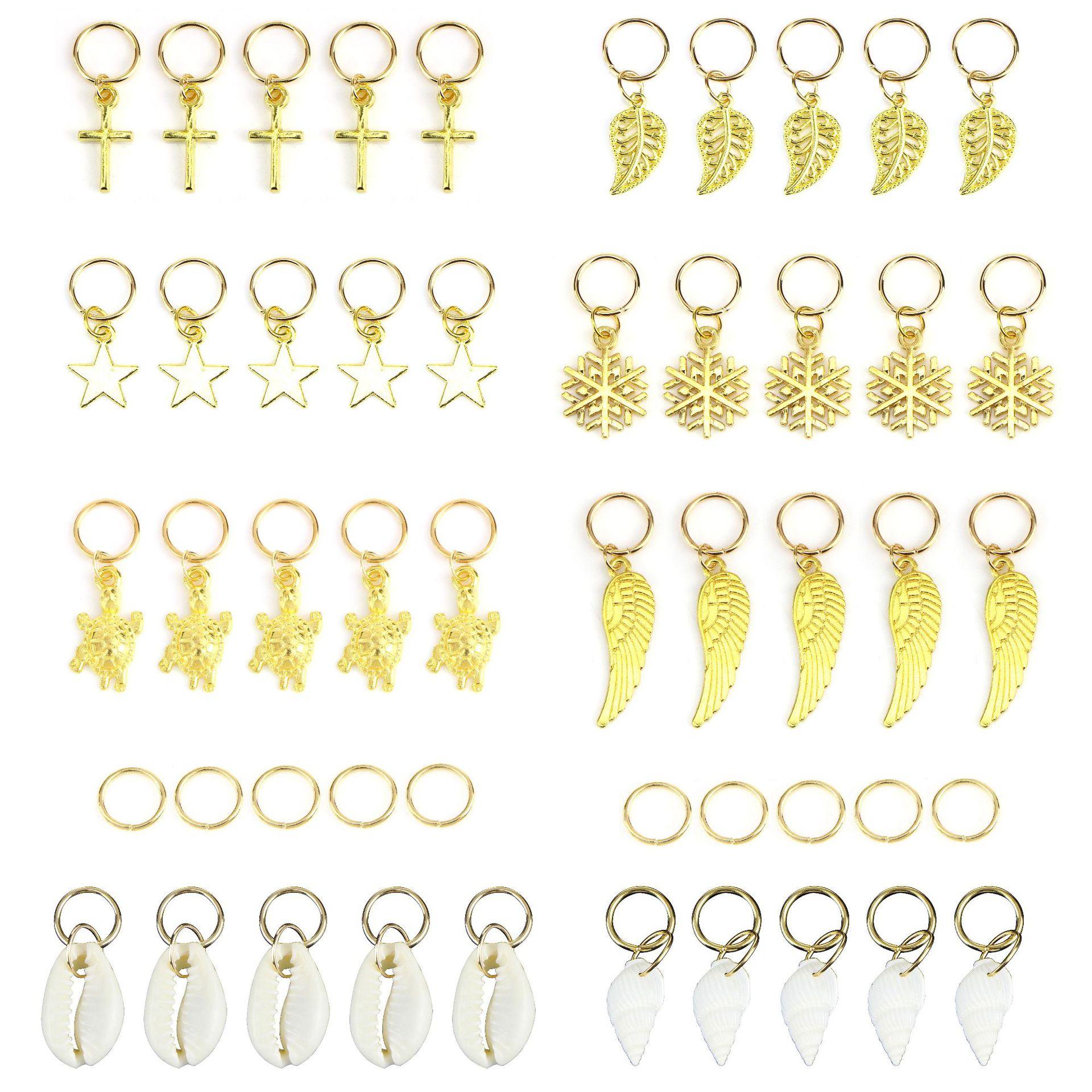 50Pcs/bag Gold Silver Hair Ring Braid Dreadlocks Bead Hair Cuffs Dread Tube Charm Dreadlock Accessaries Extension
