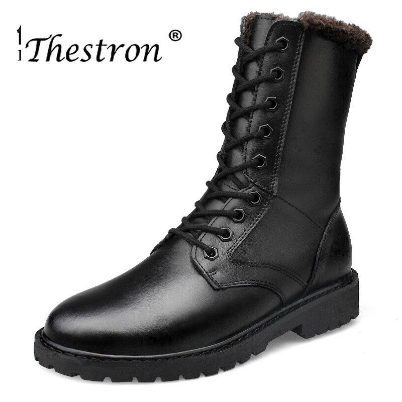 Thestron Boots Shoes Black Vintage Winter Mens Man Couple Comfortable Male Size-36-52