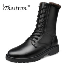 2019 Thestron Winter Lovers Boots Couple Size 36-52 Man Working Black Vintage Male Shoes Comfortable Mens Work