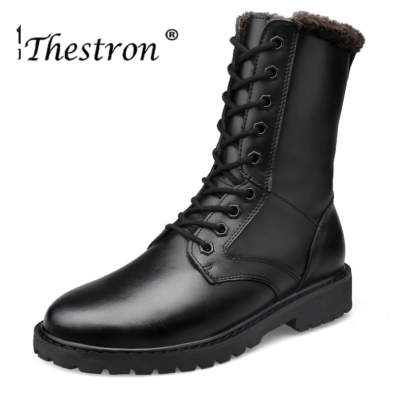 2019 Thestron invierno amantes botas par tamaño 36 52 hombre Botas de trabajo negro Vintage Hombre Zapatos cómodos hombres trabajo botas-in Botas de motocicleta from zapatos    1