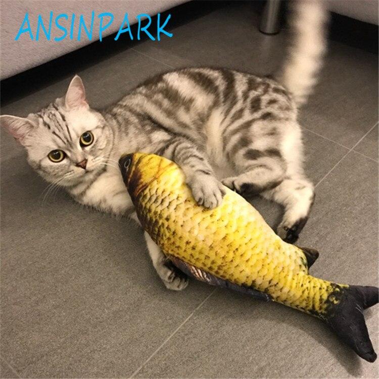 ANSINPARK cat fish toy plush stuffed dog toy fish shaped cat toy scratching Lovely Pet cats catnip Scratch resistance 1pcs f88 juguete pez