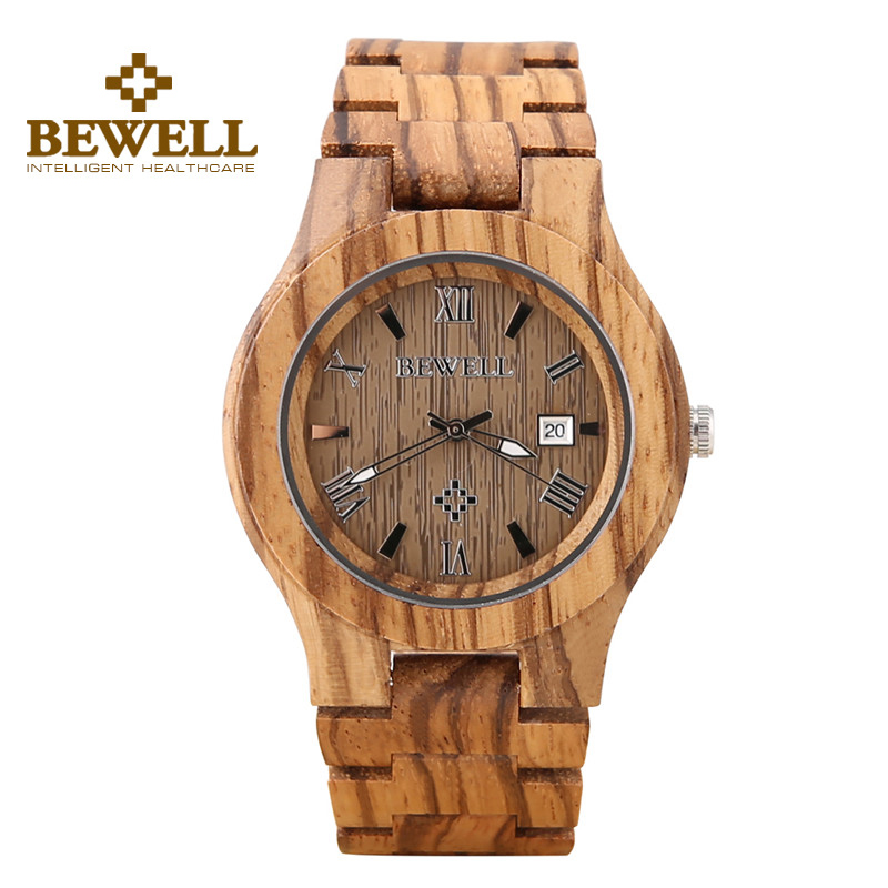 BEWELL Maple Wood Watch Men Calendar Thin Case Wooden Watches Luminous Hands Folding Clasp Quartz Wristwatch 127A natural handmade brand waterproof bewell maple wood watch with wooden case
