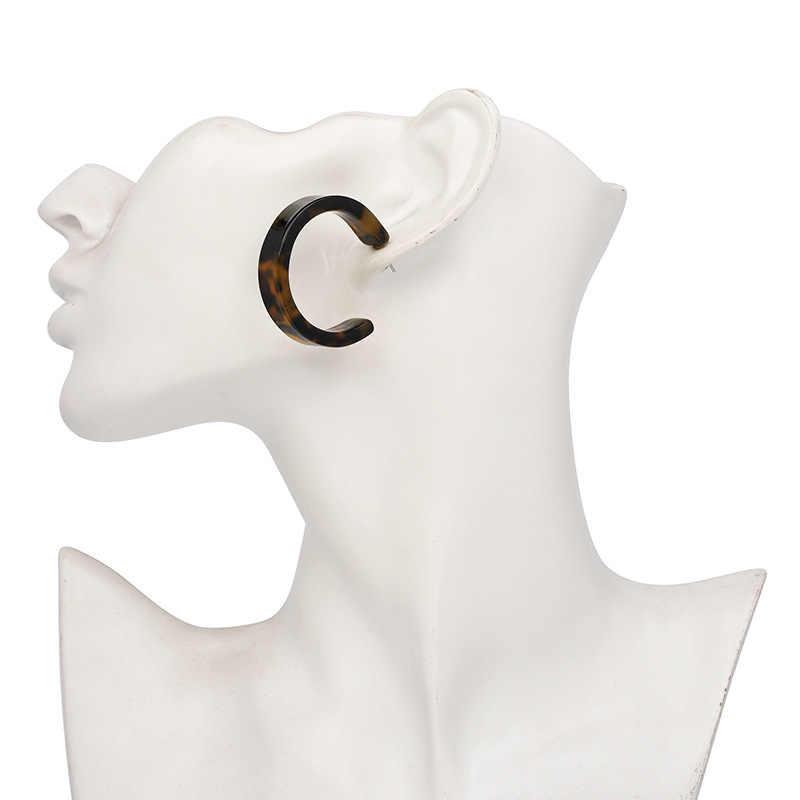 2018 New Hoop Earrings for Women Acrylic Resin Circle Geometric Leopard Statement Earrings Tortoiseshell Charm Jewelry Wholesale