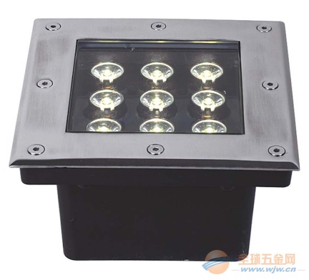 ФОТО 9W LED underground light square shape waterproof outdoor lamp optional light color Decoration or Instruct buried lighting