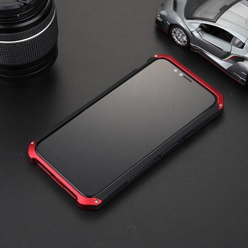 R-JUST De Luxe Armure En Métal En Aluminium + PC Heavy Duty Téléphone Protéger Funda Coque Couverture pour Apple iPhone X 8 6 6 S 7 Plus 5 5S SE cas