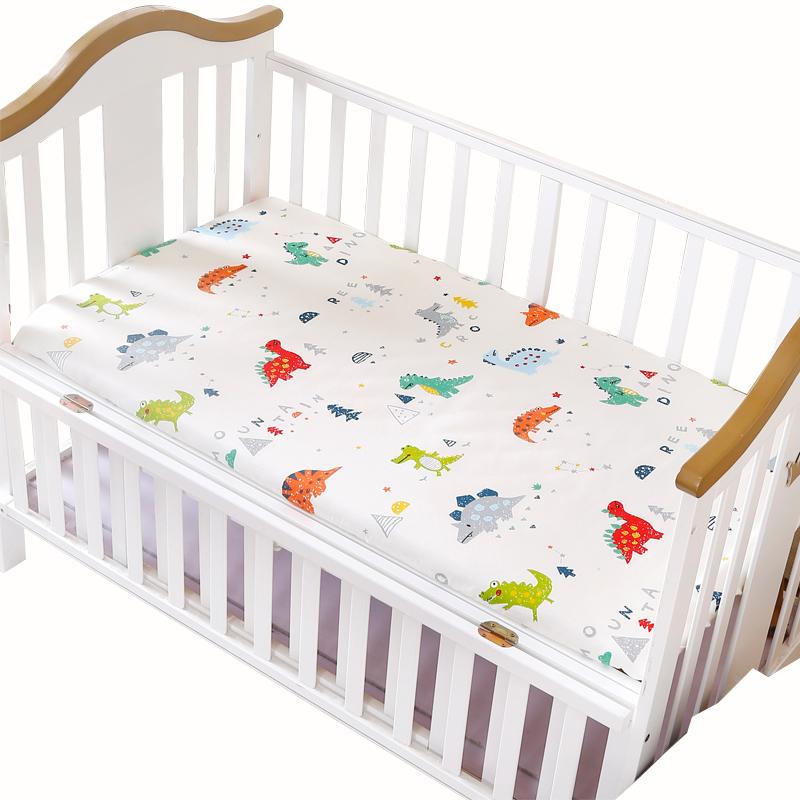 Custom Baby Printed 100% Cotton Elastic Fitted Crib Sheet Cartoon Newborn Bed play Grey Star Dinosaur Fitted Sheets 120*65cm