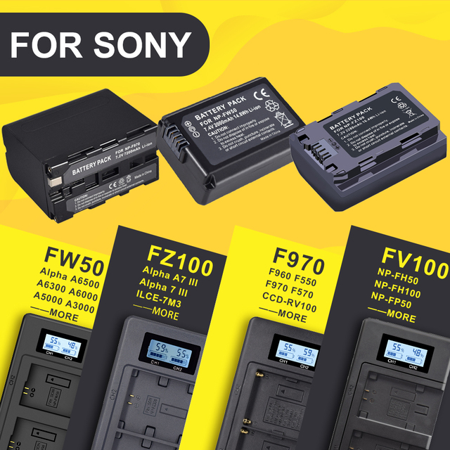 NP FW50 NP FZ100 NP F960 970 NP FV100 LCD USB Dual Charger for Sony camera  battery