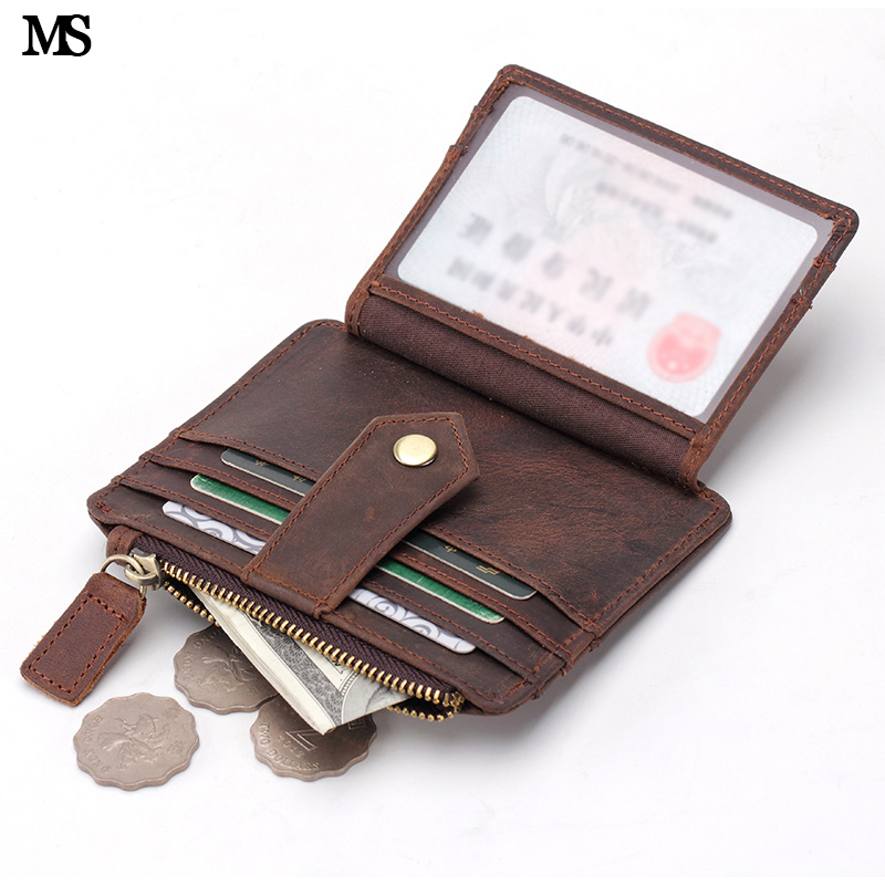 MS Vintage Unisex Mini Wallet Coin Card Tasker Crazy Horse Leather Kreditkort Clutch Business Slim Money Coin Hasp Purse K136