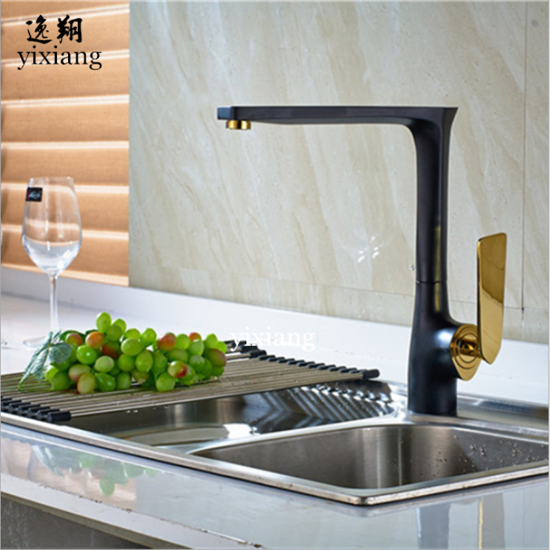 new arrival excellent quality style painting black u0026gold home kitchen faucet cold and hot water tap