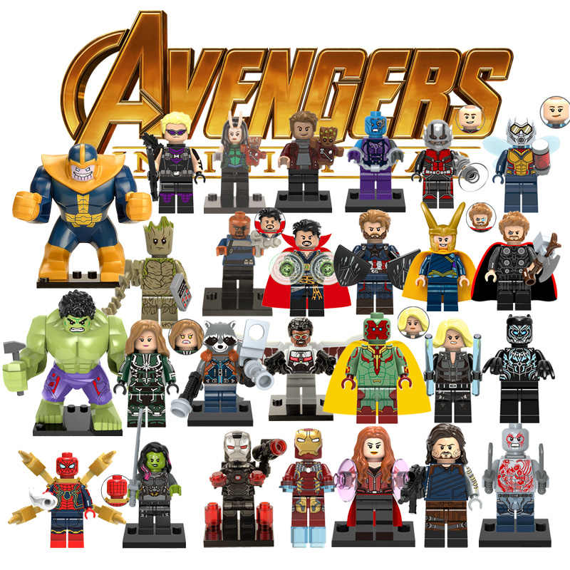 1pcs Ation Figure Super Hero Avengers Captain Marvel Ant Man Wasp Building Blocks Hulk Black Panther Toys For Children