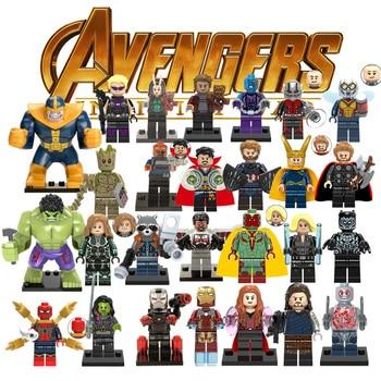 1 шт Ation рисунок LegoINGly Супер Герои Мстители Марвел Капитан Ant Man подчеркнутой строительные блоки Халк Черная пантера игрушки для детей