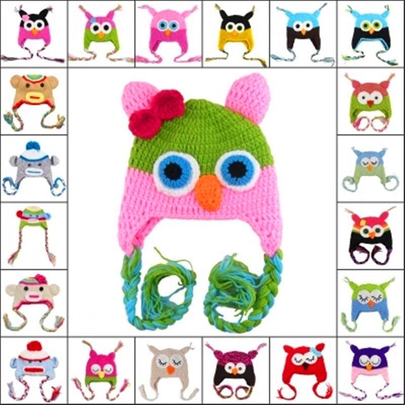 0-3 years Cute Cartoon Baby Kids Children Girl Boys Toddler Owls Knitted Crochet Caps Beanies Handmade Cashmere Wool Bonnet Hat