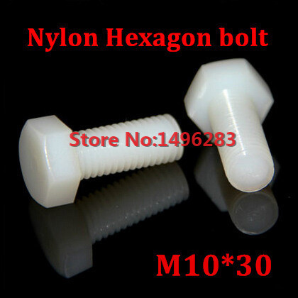 50PCS <font><b>M10</b></font>*30 <font><b>Nylon</b></font> Hexagon Bolt Metric Threaded Hex Head Set <font><b>Screw</b></font> image