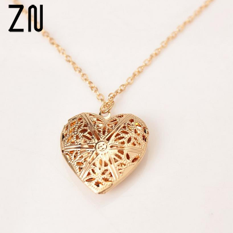 ZN Photo Love Pendant Necklace Heart Shape Book Locket Link Chain Necklace For Women Gift Box locket