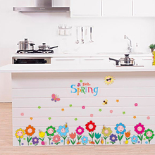 SK7079 Cartoon Colorful Smiley Flowers Butterfly Wall Stickers Bedroom Living Room Kitchen Decoration Baseboard Wallpaper