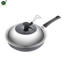 Cookware Pan Wok Stainless Iron Frying Pan non stick Cooker Family Kitchen Wok Cooking pan Less Fume Frying pan Iron Cooker