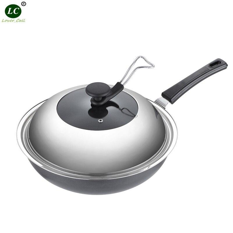Ustensiles de cuisine poêle Wok en acier inoxydable poêle antiadhésive cuisinière famille cuisine Wok casserole de cuisson moins de vapeur poêle fer cuisinière