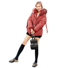 Winter Coat Women White Pink Gray S-2XL Plus Size Loose Fur Hooded Parkas 2019 New Korean Black Short Thick Warmth Jackets LR195