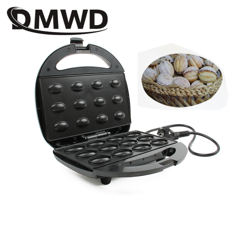 DMWD Electric Walnut Cake Maker Automatic Mini Nut Waffle Bread Machine Sandwich Iron Toaster Baking Breakfast Pan Oven EU plug