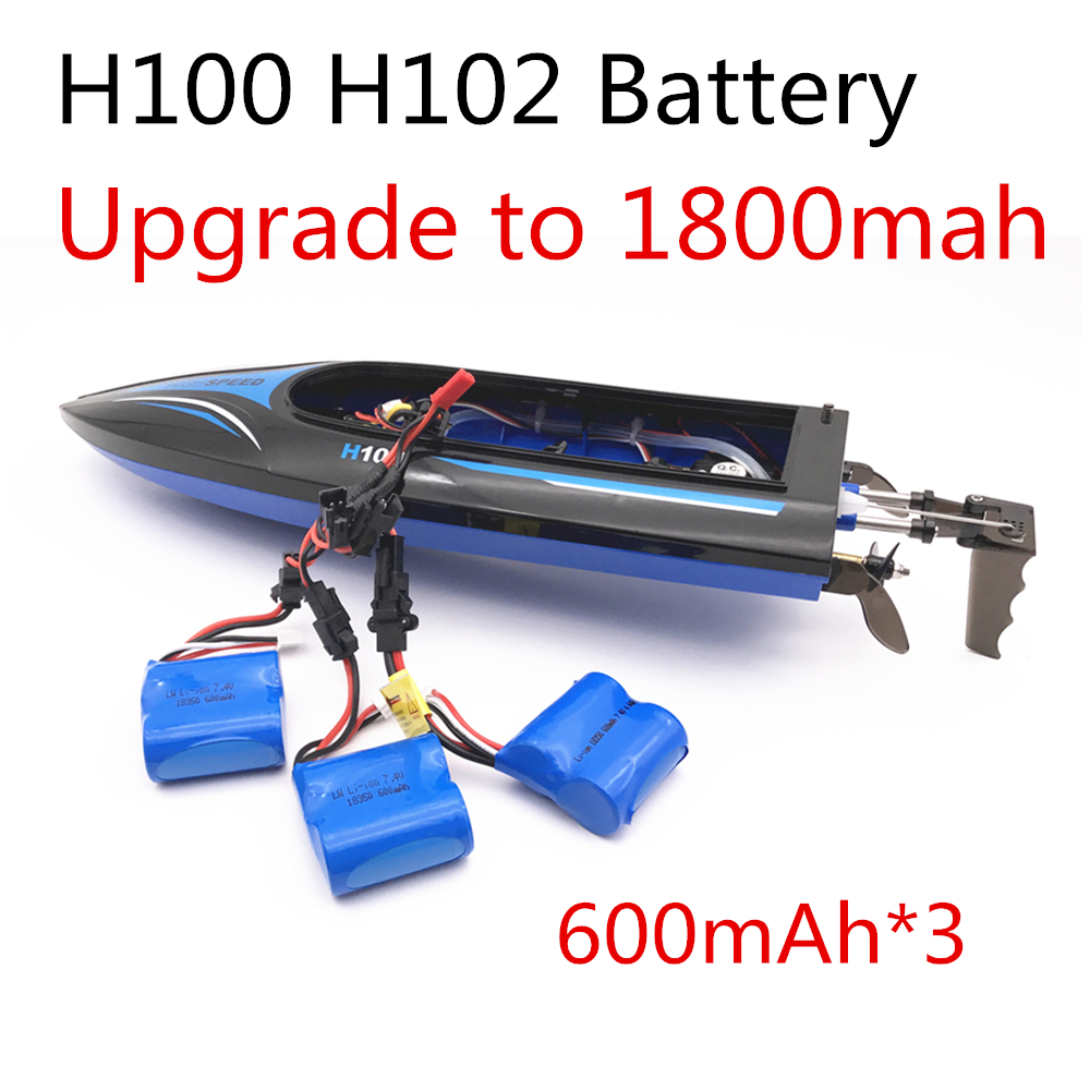 Upgrade to 1800mah Parallel 3pcs 7.4v 600mAh 18350 Li-ion battery for H100 H102 high speed RC boat battery