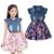Vestidos de verano Para Niñas de Algodón de Mezclilla Ropa de Los Niños Ropa de Bebé Floral Cabritos de La Manga Corta Ropa Para Niñas Princesa Vestido
