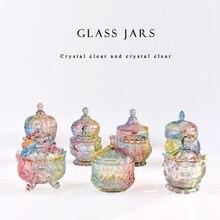 Europe style colorful Glass bottles dust-proof lid storage dessert candy jars tea caddy vase Sugar Pot wedding home Decoration