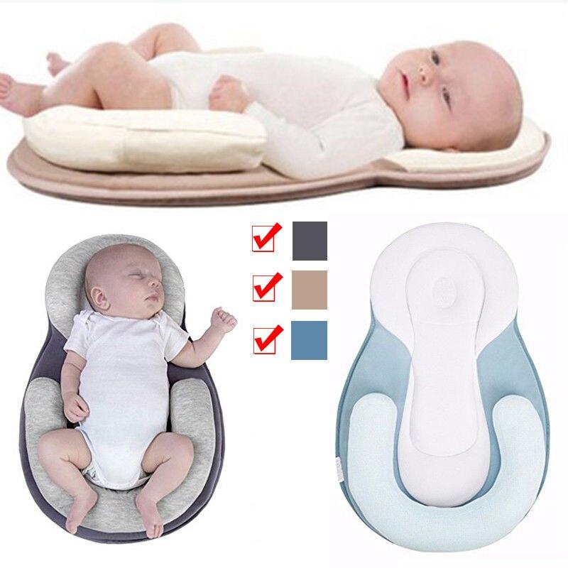Anti Roll Soft Newborn Baby Head Cushion Pillow Flat Sleep NestBody Pod Pillow