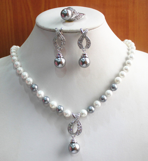 best gift jewelry set!Wholesale simple and noble Women s white and gray pearl  Necklace earring ring(7 8 9) set  210 f4ab8e360c