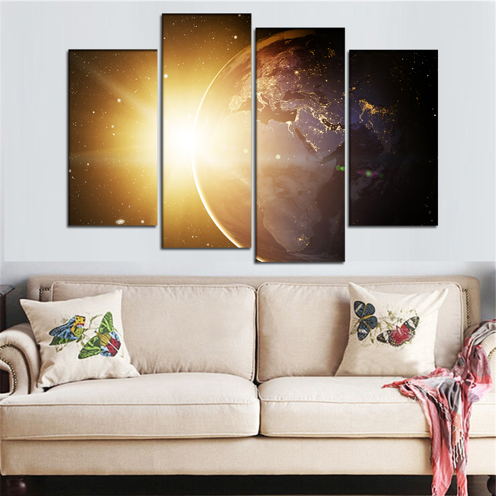 4 Stücke Gerahmte Wandkunst Segeltuch Sonnenlicht Malerei Planet ...