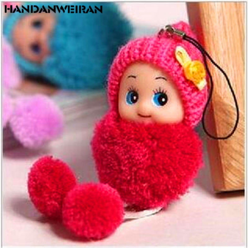 1PCS 8CM Cute Small Pendant Mini Girl Toys Confused Doll Wedding Tmobile Phone Pendants Plush Girl Toys For Christmas Gift image