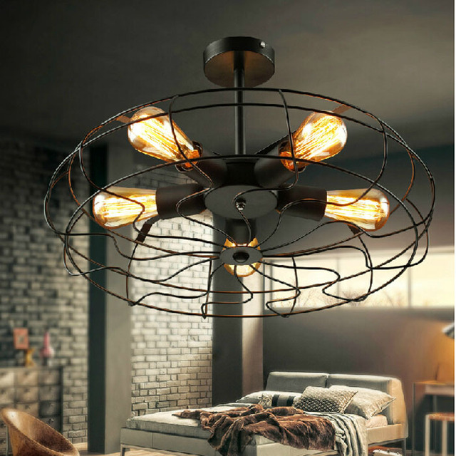 Livraison gratuite personnalité américaine restaurant lumières balcon mode vintage noir ventilateur plafonnier e27 avec 5 edison