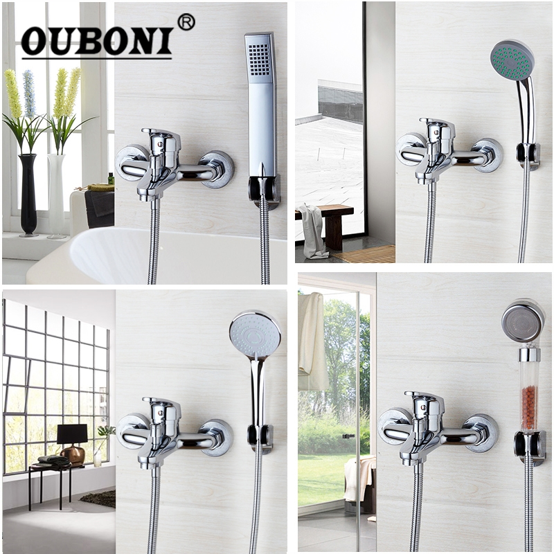Luxury Hand Shower Sets Chrome Polish Bathroom Shower Sets Faucet Floor Mouted Bath Faucet Mixer Taps 4 Kinds shower hand wall mount thermostatic shower faucet mixers chrome dual handle bathroom hand held bath shower taps