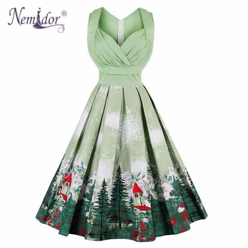 Nemidor 2018 Women 1950 Vintage Elegant V neck Plus Size A line Dress Print  Sleeveless Rockabilly Midi Swing Dress-in Dresses from Women s Clothing on  ... 82048020b9cc