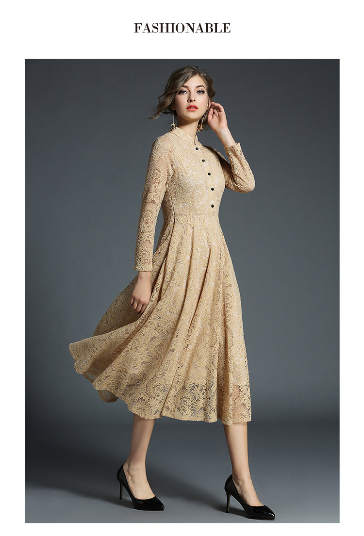 Stand Neck Long Sleeve Office Work Elegant Lace Dress 9