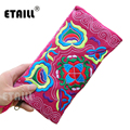 Flower Ethnic Indian Boho Embroidered Bag Lady Women Long Purse Clutch Wallet Thailand High Quality Famous Brand Wallet Women