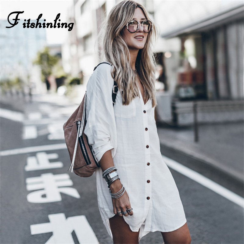 Fitshinling Bohemian White Shirt Dress Beach Wear 2019 Long Sleeve Button Up Sexy Dresses Women Clothing Holiday Pareos Hot Sale