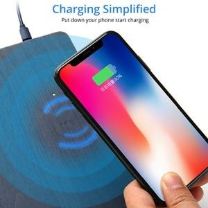Image 3 - Fonken Draadloze Oplader Muismat Qi 10W Draadloze Usb Opladen Voor Telefoon Bureau Oplader Pad Pu Houtnerf Quick charge Dock