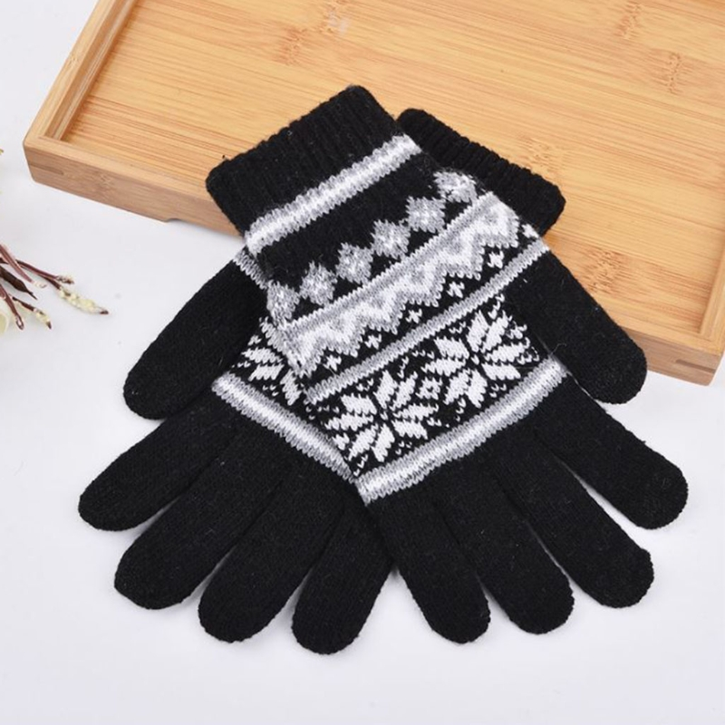 Men's Fashion Winter Warm Floral Thick Touch Screen Knitted Stretch Glovess