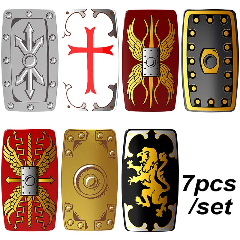 7pcs/set Medieval Knights Shields Crusader Lord of the Rings Building Blocks Bricks DIY Gifts Toys for Children lord of the rings pg518 witch king of angmar the black gate diy figures building blocks bricks kids diy toys hobbies single sale