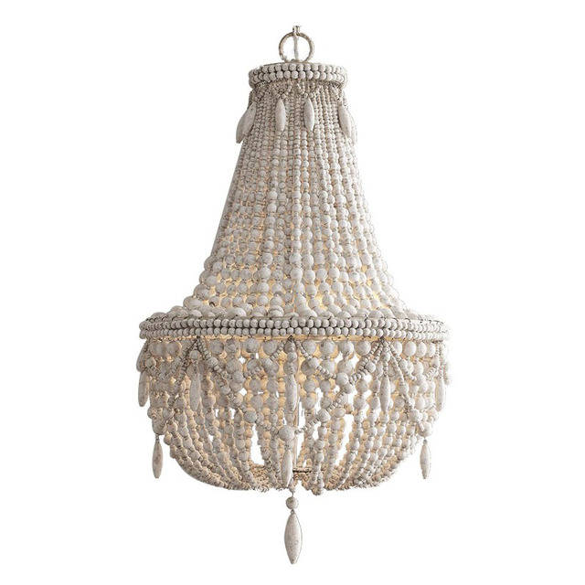 French American Retro White Wood Bead Chandeliers Kids Room Bedroom