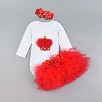 Moda Bebê Menina Bodysuits Algodão Orgânico Bonito Newborn Vestuário Set Com Headbands Rendas Saias Em Camadas Dos Desenhos Animados Roupas Infantis