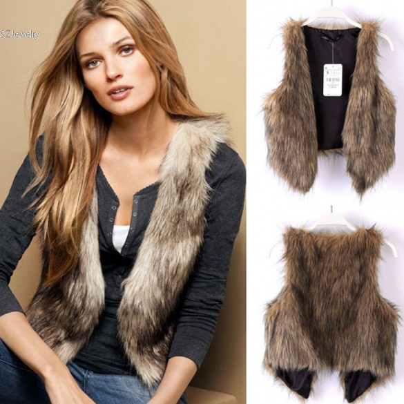 817f9aa9237b1 Faux Fur Gilet Coats Female Winter Jacket Fur Collar Plus Size Coat Women  Clothing Brown Fur Vest Woman Winter Coats And Jackets